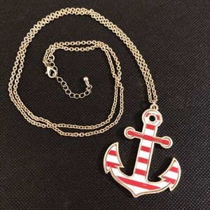 Striped Anchor Necklace